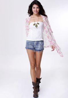 Floral Crop Sleeves Kimono - Apricot #fashion #stylish #dress #lookbookstore #outerwears