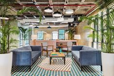 Modular Lounges, Modular Sofa, Pink Tiles, Office Floor, Glass Partition, Waiting Area, Soft Seating, Arched Windows, Visual Comfort