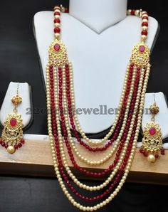 Jewellery Designs: Beads Set with Gold Plated Chandbalis