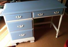Blue and white desk $25