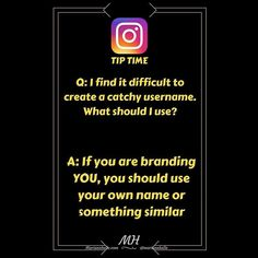 Tip time: Question: I find it hard to create a catchy username. What should I use...   Answer: If you are #branding YOU your name or a simple variation of it is a good choice.  Remember you are your own brand! Avoid multiple underscores and numbers. You want your audience to remember and recognize you!   Did you find value in this? Do you want more awesome tips? JOIN the Simple Social Media for Online Network Marketers Facebook group! I would love to welcome you in there!   LINK IN BIO…