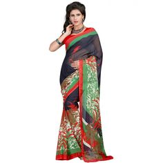 Lovely Multi Color Faux Georgette Printed Saree at just Rs.430/- on www.vendorvilla.com. Cash on Delivery, Easy Returns, Lowest Price.