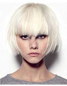 Tsnomore Silver White Bob Full Bang Chic Short Cosplay Women Wig