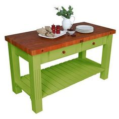 lime green kitchen butcher block island