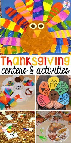 Thanksgiving and turkey themed activities and centers for preschool pre-k and kindergarten. (math literacy fine motor character and more). Thanksgiving Activities For Kids, Fall Preschool, Thanksgiving Crafts For Kids, Holiday Activities, November Preschool Themes, Thanksgiving Activities For Kindergarten, Thanksgiving Songs, Preschool Writing, Thanksgiving Appetizers