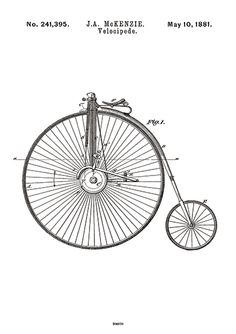 Patent illustration: Velocipede Size: A4, Unframed, gallery quality fine art print on 180g paper Colour: Black an white Designed and printed in Copenhagen, Denmark.  Material: 180g/m2 pure white paper Finish: Mat Printing: Printed on the latest Xerox Versant printer with the high quality inks Gallery-quality paper printed with solvent-free, UV-resistant, archival inks.