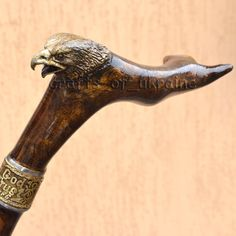 BALD EAGLE - Exclusive Fashionable Walking Stick Handmade Cane with Monogram, Walking Cane, Wooden Cane Hand Carved Handle with Bronze Head