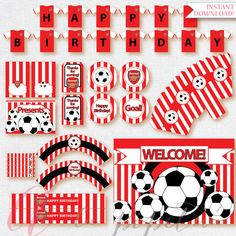 Soccer Party Package. Instant download. Printable. Matching Custom invitation available. Arsenal inspired printables.