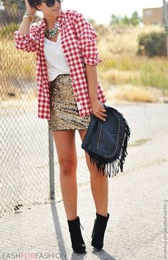 5c3d49bdbf2a fashforfashion -♛ STYLE INSPIRATIONS♛  style Skirt Outfits, Sequin Skirt  Outfit, Love