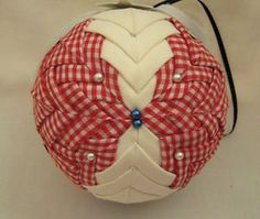 """4"""" Cross Quilted Ball Red White Gingham Christmas Ornament Country Handmade"""