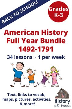 Go Back to School with the American History for Elementary Students ONE-YEAR CURRICULUM for K-3/homeschool - Christopher Columbus to the Bill of Rights! Lessons are text-based, with links to vocab, maps, pictures, activites, & more! Lots of ways for elementary students to learn American History and social studies. Great for homeschooling! #bundle #completebundle #tpt #elementaryhistory #Americanhistory #homeschool #backtoschool #BTS #HistoryatHome #activitybooks #activities First Grade Lessons, Teaching First Grade, Classroom Activities, Book Activities, School Resources, Teaching Resources, Teaching Social Studies, Christopher Columbus, Homeschool Curriculum