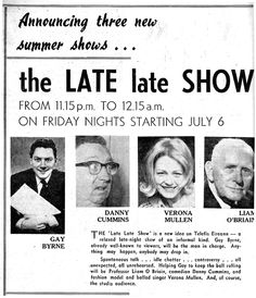 Announcing the start the The Late Late Show -  a fixture of my growing up.,