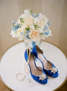 We love the brooch detail on Dana's royal blue d'orsay heels for her wedding @Four Seasons Hotel Boston.