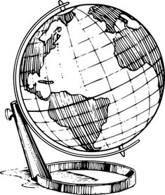 Illustration of a globe with a transparent background. - Free Stock Photo Id: 16028 KB) Earth Drawings, Outline Drawings, Clipart Black And White, Black And White Drawing, Globe Outline, Globus Tattoos, Erde Tattoo, Globe Drawing, Pencil Drawings