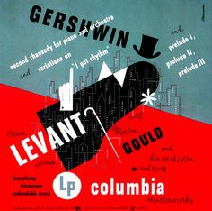 "Album jacket for Gershwin's ""Second Rhapsody for Piano and Orchestra / Variations on 'I Got Rhythm' / Preludes 1, 2, 3"" (1950 ) designed by art director & graphic designer Alex Steinweiss (1917-2011). via Art & Artists"