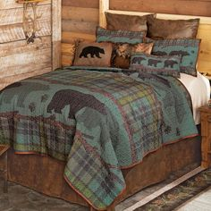 A Black Forest Décor Exclusive - Reminiscent of a moonlit forest night, this soft microfiber polyester bedding features bands of bears and pine trees to add a cozy woodland feel to your bedroom. Sets include quilt and two shams. Machine wash. Black Bear Decor, Black Forest Decor, Quilt Bedding, Bedding Sets, Bedroom Sets, Comforter, Quilt Sets Queen, Plaid Quilt, Rustic Bedding