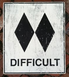 Ski slope sign Difficult 18 x 23 by GoJumpInTheLake on Etsy, $35.00