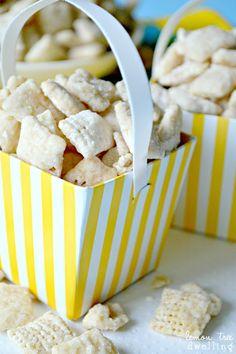 Something to try...Lemon Bar Muddy Buddies - tastes just like a real lemon bar!
