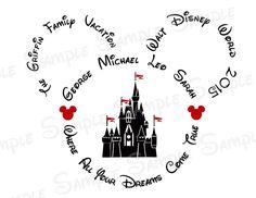 Disney World Castle Custom DIY Printable Iron On Transfer or Door Magnet Disney Family Vacation by TwoByTuTuCreations on Etsy https://www.etsy.com/listing/225366364/disney-world-castle-custom-diy-printable