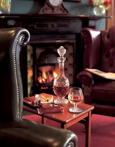 Waiting for U... quietly enjoying some good old whiskey... in my favourite leather wing chair, in the library !