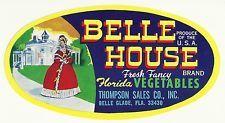 Belle House Original Unused Vintage Vegetable Crate Label Belle Glade, Florida