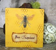 Small Art  Honeybee Inspirational Painting by KissedByABee on Etsy