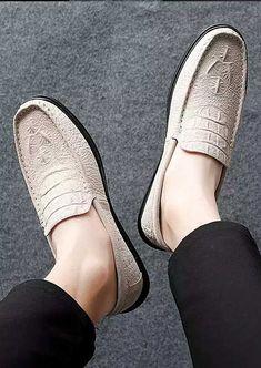 Beige crocodile pattern leather slip on shoe loafer 2028 Mens Slip On Loafers, Mens Slip On Shoes, Leather Slip On Shoes, Crocodile Skin, Shoe Shop, Loafer Shoes, Shoes Online, Espadrilles, Beige