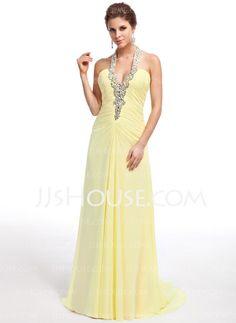Evening Dresses - $138.99 - A-Line/Princess Halter Sweep Train Chiffon Evening Dress With Ruffle Beading (017026237) http://jjshouse.com/A-Line-Princess-Halter-Sweep-Train-Chiffon-Evening-Dress-With-Ruffle-Beading-017026237-g26237