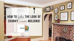 Faux Crown Molding: Thick, classic crown molding found in old homes is really beautiful, but often very pricey to replicate. We used a little trick in this room that fools the eye with two pieces of thin molding and a strip of paint. Here's how: http://livewelln.co/1dJTYb1