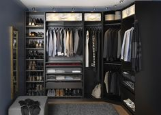 If you're dreaming of a luxury walk-in closet in your home, you're definitely not alone. Visit our gallery of luxurious walk-in closet designs. Bedroom Wardrobe, Wardrobe Closet, Walk In Closet, Pax Closet, Shoe Rack Inside Wardrobe, Ikea Walk In Wardrobe, Corner Closet, Men Bedroom, Bedroom Rustic