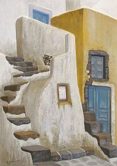 Emborio by Stella Petropoulou - Greek Artist Online Gallery, Art Gallery, Drawing Sketches, Drawings, Sketching, Clay Roof Tiles, Stair Steps, 3d Painting, Paros