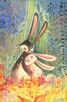 Alina Chau - Bunny Love Watercolor Illustration on wood. Art And Illustration, Rabbit Illustration, Watercolor Illustration Children, Watercolor Artists, Watercolor Painting, Fantasy Kunst, Fantasy Art, Bunny Love, Lapin Art