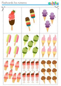 flashcards helados numeros