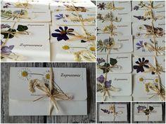 zaproszenia ślubne z suszonymi kwiatami / dried flowers wedding invitations - Pracownia Faramuszka