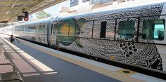 Aboriginal artwork on a Queensland Tilt Train. The black and white patterns represent historic stories of Torres Strait heroes and warriors in far North Queensland and were created by Alick Tipoti. Aboriginal Painting, Aboriginal Culture, Maori Art, Unusual Art, Indigenous Art, Picture Show, Street Art, Art Gallery, Train
