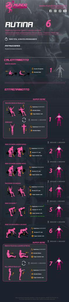 Rutina de entrenamiento para espalda que combina ejercicios generales y específicos por separado y en super series con el objetivo de mejorar el tono, el volumen muscular y la fuerza.