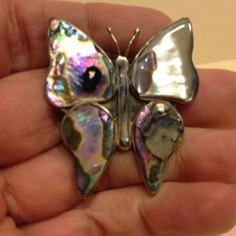Vintage Estate Paua Shell BUTTERFLY BROOCH Pin Silver Tone Costume Jewelry