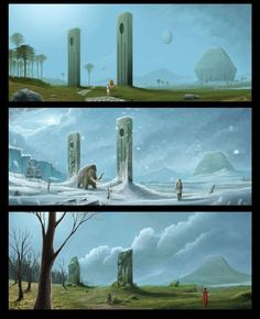 Ancient Civilization Ice Age By Oxiso On Deviantart Fantasy Concept Art, Sci Fi Fantasy, Fantasy Artwork, Fantasy World, High Fantasy, Ancient Mysteries, Ancient Ruins, Fantasy Places, Illustration