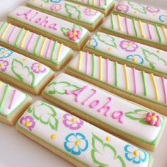 """Some cheerful little cookie sticks for a luau party. I used the multi cookie stick cutter I designed for @trulymadplastics Step by step tutorial for the flower and leaf designs can be found on GloriousTreats.com (click on the """"cookie decorating"""" tab)"""