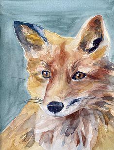 Zero Fox Given (Original) red fox watercolor painting Watercolor Fox, Watercolor Canvas, Watercolor Paintings, Zero Fox Given, Eye For Detail, Red Fox, Love Photos, Deer, Moose Art