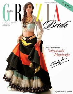 A modern quirky version of a Sabyasachi lehenga. Love the styling by Grazia India magazine. #Bridelan