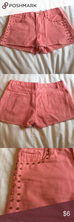 Coral high waisted shorts Forever 21 high waisted coral shorts with gold studs. No studs are missing. Forever 21 Shorts Jean Shorts