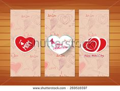 hearts Mother's Day Cards - stock vector