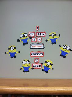 "I can think of a ""minion"" reasons to read! Library bulletin board. Movie themed bulletin board. Despicable me bulletin board."