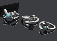 Boho Turquoise Ring Set