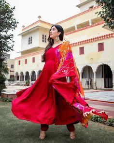 Indian Bollywood Designer Printed Rayon Red Anarkali Kurti, Palazzo With Dupatta. Diwali Christmas Special Dress. Free Shipping In USA/UK.