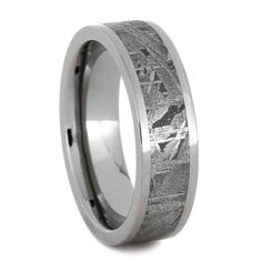 Cute I um on the hunt for Leif us wedding band Meteorite with Titanium for my rocket scientist how cool Farm Wedding Inspiration Pinterest Titanium ring