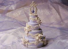 "1:12 Scale Dollhouse Miniature Wedding Cake--""Romance"". $38.00, via Etsy."