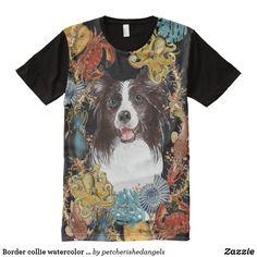 Border collie watercolor sea ocean creatures All-Over print T-Shirt Watercolor Sea, Watercolor Drawing, Collie Dog, Border Collie, Pet Portraits, Fashion Portraits, Sea Pirates, Pet Dogs, Pets