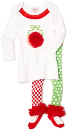 This 2-piece Christmas set from Mud Pie will have your favorite little girl jumping with joy this holiday! The girl's Ornament Tunic & Leggings Set includes the tunic style shirt and legging style pants.  The long sleeved, white tunic shirt features a cute Christmas ornament made from a red chiffon applique and red trimming on the neck.  The leggings are fun and colorful with a red checkered leg and a green checkered leg, with fluffy red chiffon ruffles on the ankles.